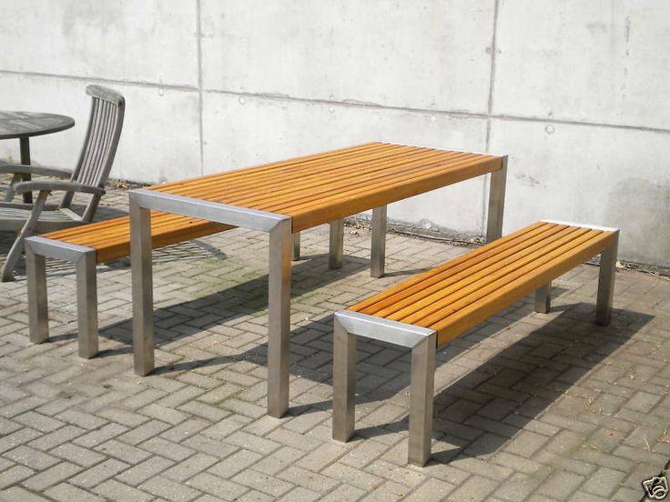 Gartenmöbel Edelstahl Holz Tisch 76x200xm   eBay ...