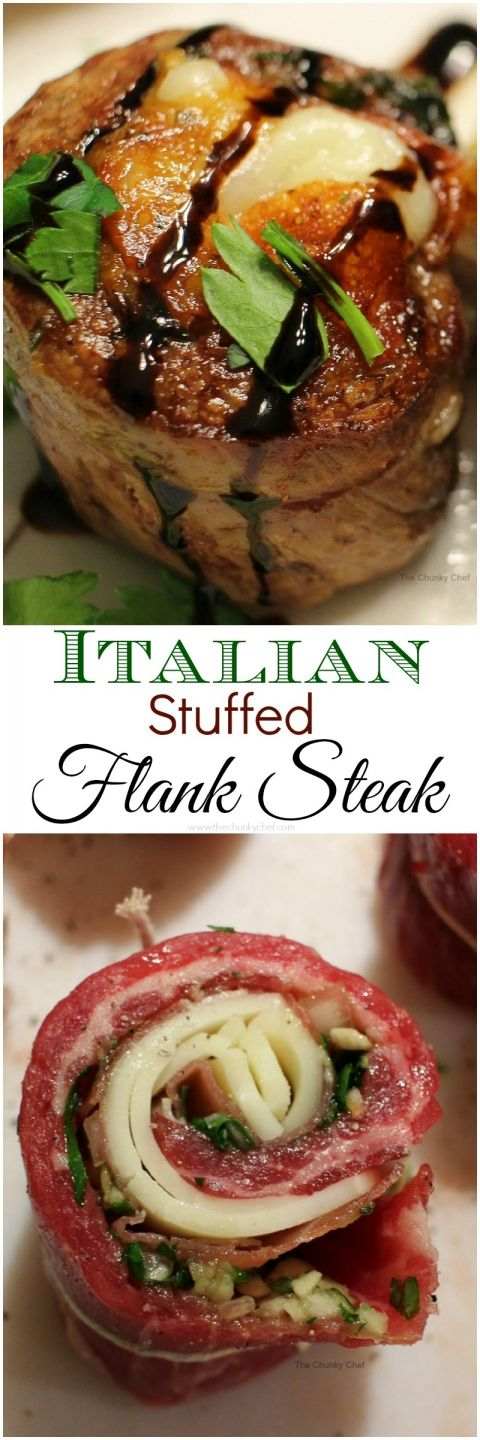 Tender flank steak rolled up with garlic, herbs, prosciutto ham, provolone cheese... flavorful steak medallions that are tasty as they are good looking!