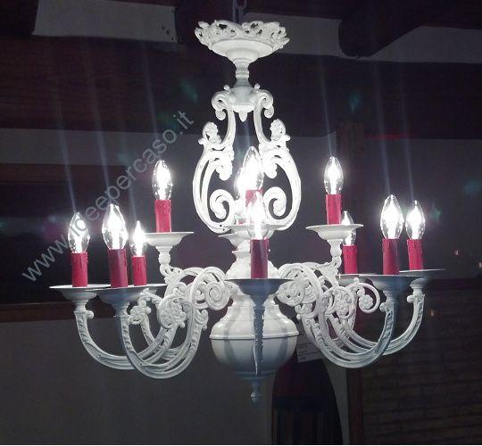 trasformazione di un vecchio lampadario in stile shabby chic bianco