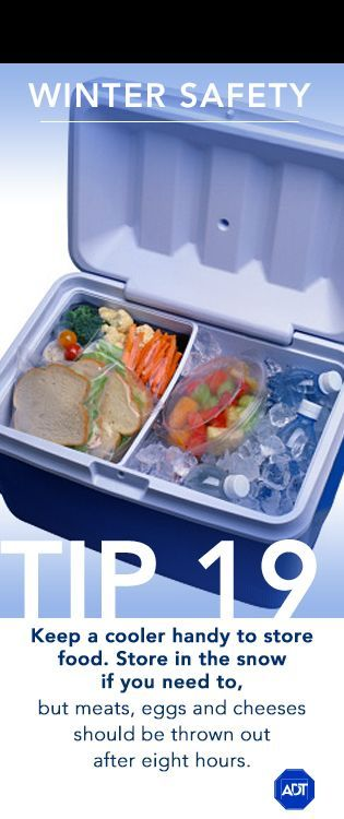 Winter Safety Tip #19: Keep a cooler handy to store food. Store in the snow if you need to, but meats, eggs and cheeses should be thrown out after eight hours. Sincerely, ADT #staysafe  For more safety and security tips or information on home alarm systems, please visit adt.com.