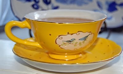 My Painted Garden: Yellow Tea Cup with Blue Birds