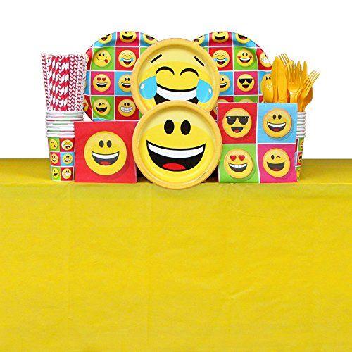 Happy Birthday Emoji Tableware Package for 16