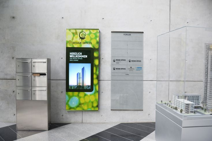 Digital Signage at Design Offices - information pillar