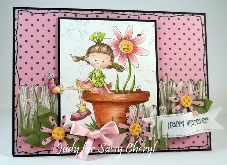 Sally's pink Flower~ a Sassy Cheryl digital image  colored with gamsol and prisma pencilsGirls Cards, Image Colors, Digital Image, Colors Pencil, Homemade Cards Scrapbook, Copic Markers, Cheryl Challenges, Girls Image, Cheryl Digital