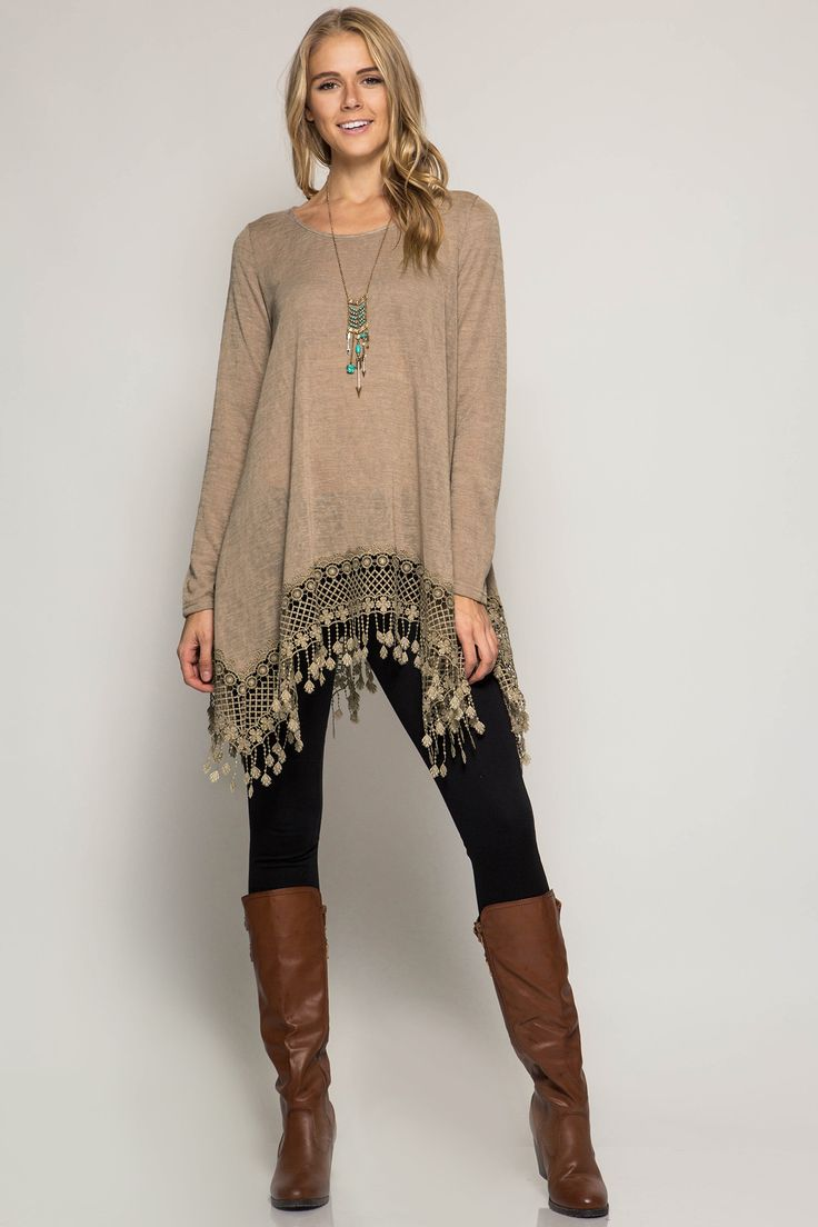 Long sleeve tunic with crochet fringe trim. - 60% Cotton - 40% Rayon