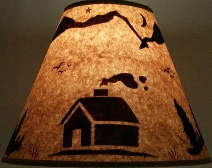 Rustic Bear Lamp Shade 12 Inch Bottom Diameter 9 Inch Slant 5 Inch Top Diameter Log Cabin Ski Lodge Log Furniture Alaska Decor Cabin Lamps Rustic Bear Lamp Shade