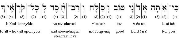 Psalm 86-5 (BHS) Transliterated