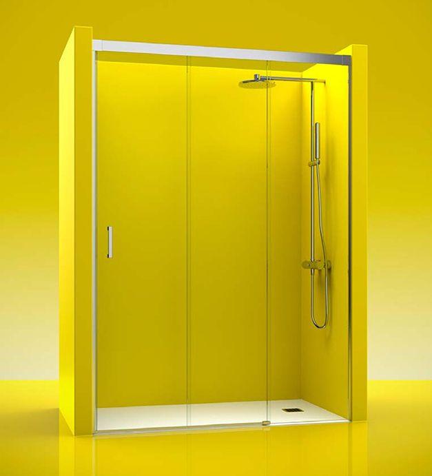 Mampara de ducha TREBOL 100, esta mampara se compone de 2  puertas corredera más un fijo. La estructura de esta mampara está realizada en aluminio anodizado alto brillo.