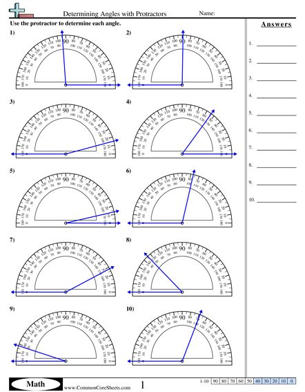 Determining Angles With Protractors Worksheet Idea