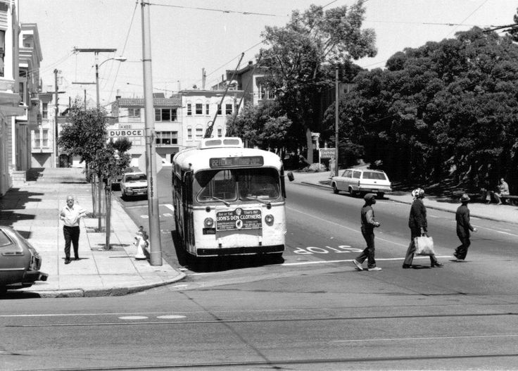 San Francisco MUNI transit on route 22-Fillmore, going southbound on Church St. at Duboce St. (1975)