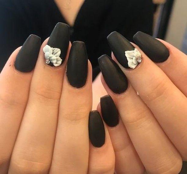 Matte Black With 3d Nail Art Acrylic Nails By Jen Acrylicnails Nails Gel Shellac Matteblack Rainbowroomhairsalon Nail 3d Nail Art Floral Nails Nail Art