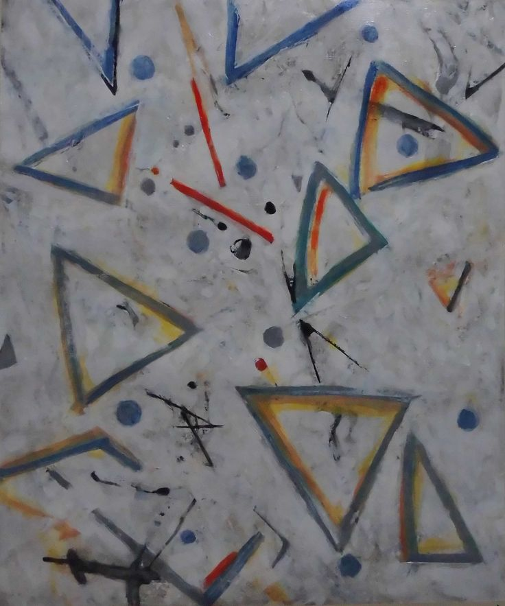 "2018.01.17 kazuo izu  oil on canvas F8  "" Triangle to commit suicide"""