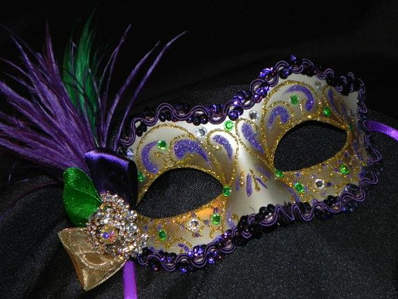 Mardi Gras Mask Ideas | Purple, Green, and Gold Feather Mardi Gras Mask by Jessica, The Crafty ...