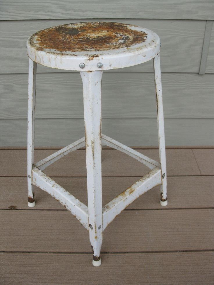 Shabby White Metal Stool- Garage stool-Industrial Stool- Shop Chair -Kitchen Stool & Best 25+ Garage stools ideas on Pinterest | Stool makeover My ... islam-shia.org