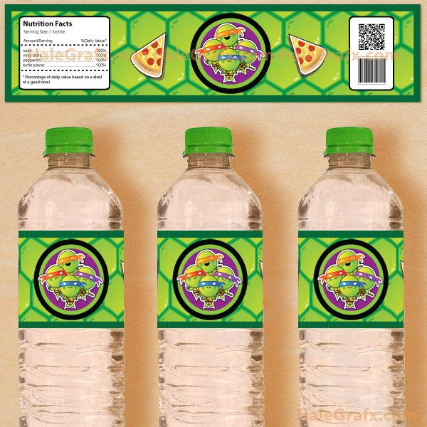 Printable Teenage Mutant Ninja Turtles Inspired Water Bottle Labels--great for a ninja turtle themed party!