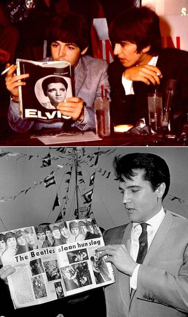 """Click through for 15 """"Photos of Celebrities Reading Books About Other Celebrities"""" -- Shown: """"These aren't books, but we couldn't help ourselves: The Beatles reading about Elvis and Elvis reading about The Beatles."""""""
