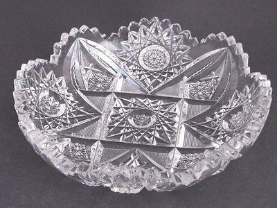 American Brilliant Period Cut Glass low bowl Antique crystal hobstar