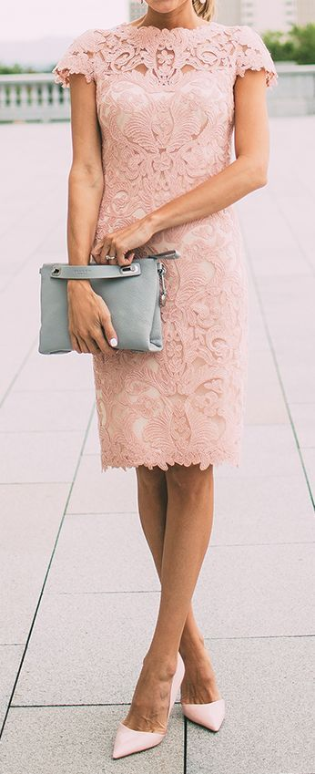 Women's fashion | Elegant pink lace dress, heels, clutch