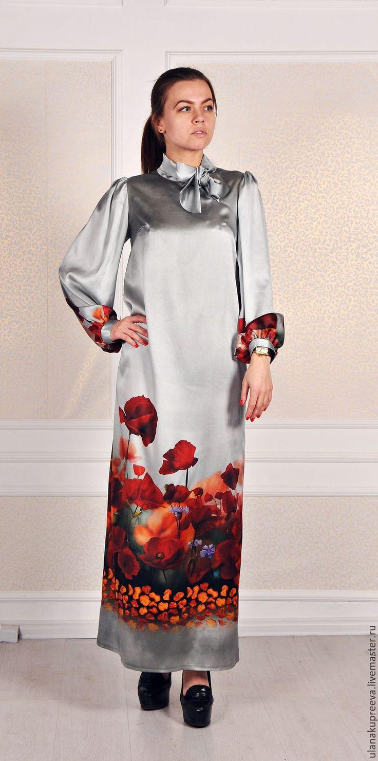 Купить Скидка - 50% Платье из натурального шелка (Италия) - платье, прямое платье, шелковое платье