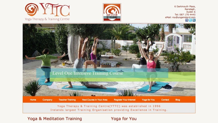 Screen shot of new Yoga Therapy & Training Centre website launching March 2013. www.yogaireland.com