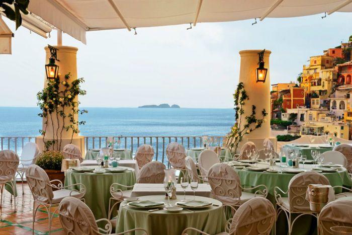 35 Most Amazing Restaurants With A View. #25 Is INSANE.   Ristorante La Sponda in Positano, Italy
