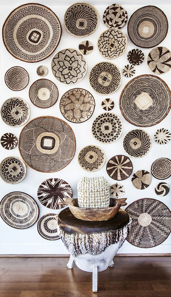 AFRICAN BASKET WALL, FEATURE WALL, AFRICAN BASKETS, DIY, HOME DECOR, MODERN HOME DECOR, INTERIOR DESIGN
