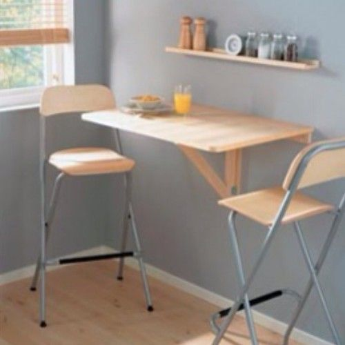I believe this is the same table sold at IKEA. Without the chairs it appears VERY small on the IKEA website.  THIS would be perfect for a fold away bar where I don't want a bar PERMANENTLY taking up floor space. But where to store the bar-stools?  Really like the condiment shelf above as well.  From IKEA?? {New IKEA Wall Drop Leaf Table Birch Breakfast Nook Bar Folding Down Laptop Desk | eBay}