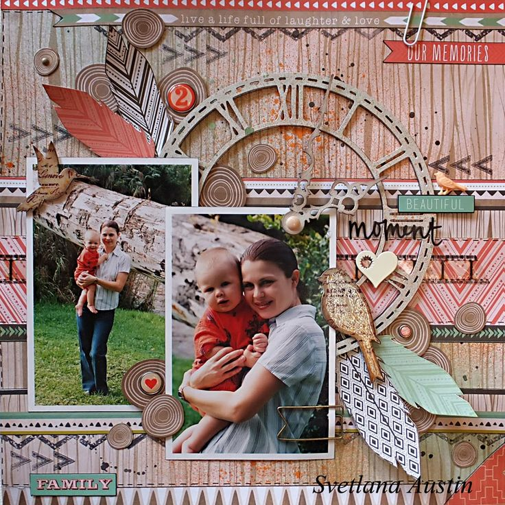 Colorful Memories: Beautiful Moment layout with Kaisercraft papers and Blue Fern Studios chipboard