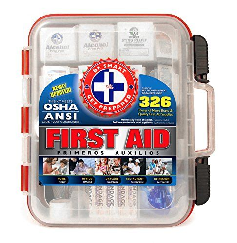 Made by the number one leading   manufacturer of First Aid Kits in the USA.  326 pieces of comprehensive first   aid treatment products. * Meets or exceeds OSHA and ANSI   2009 guidelines for 100 people.  Ideal for most businesses and perfect for   family use at home. * Fully organized interior   compartments provides quick access. Rugged, sturdy, high density plastic case   is impact resistant. * (Placed within the Amazon Associates program) * 21:15 Mar 20 2017