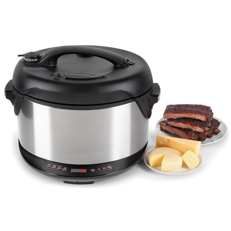 Combines pressure cooker and smoker in one appliance, this 6½-quart device increases internal pressure by 15psi, cooking food up to 70% faster while causing wood chips to release their fragrant, flavor-enhancing smoke.