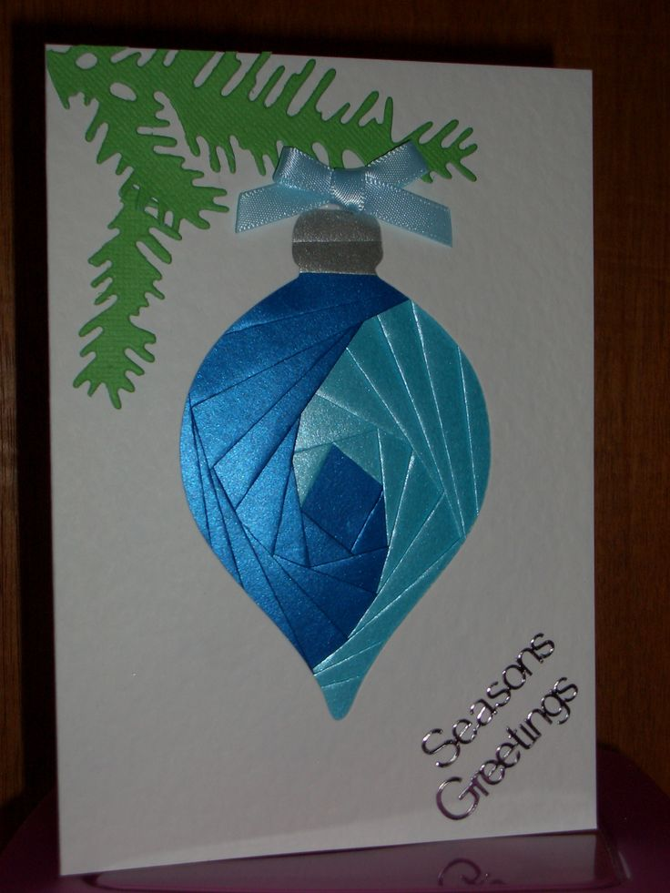 Bauble Iris Fold Card - Card blank & paper from Dee Craft, embellishments from my stash.