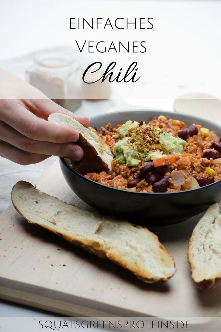 Super einfaches Veganes Chili Rezept, einfach und schnell zu machen, gesund und lecker! Vegan, glutenfrei, gesund und proteinreich! - Squats, Greens & Proteins pin