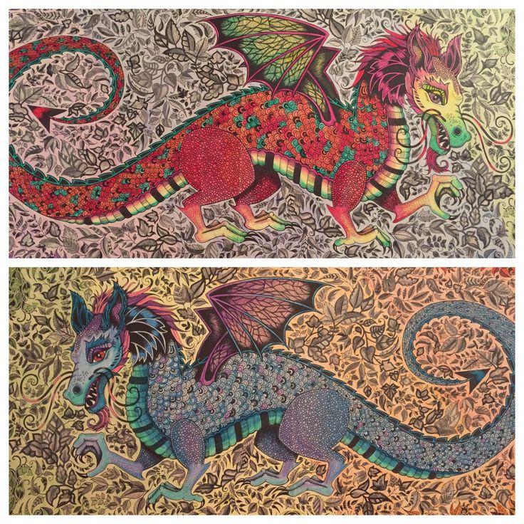 Enchanted Forest Colouring Book Johanna Basford Dragon