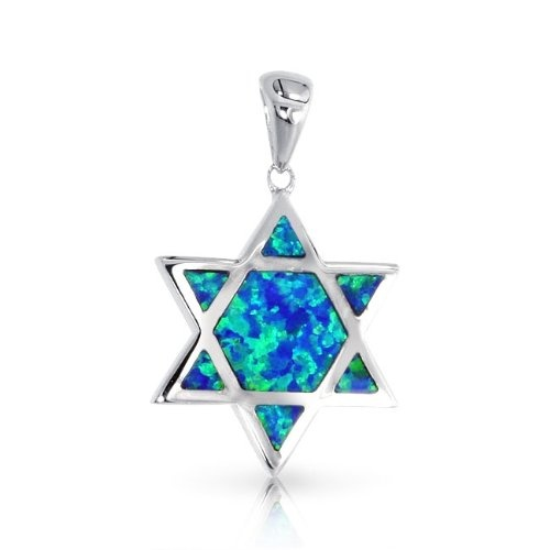 Bling Jewelry .925 Sterling Silver Blue Opal Inlay Star of David Pendant