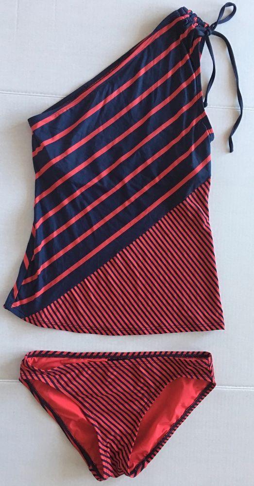 DKNY Donna Karan 2 Pc Striped Tankini Swimsuit 1 Shoulder Shelf Bra Size XS #DKNY #2PieceTankini