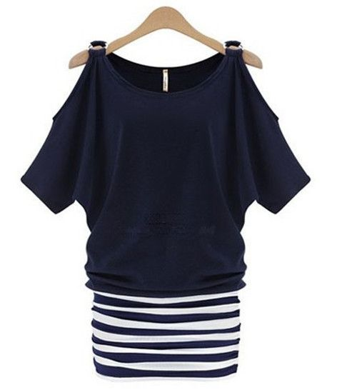 Big Size XL-5XL Women Casual Dress 2014 Off Shoulder Striped Dress Slim Hip Bodycon Dresses Loose Batwing Dress Vestidos 2625