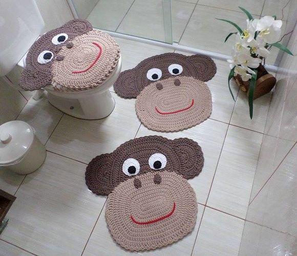 Jogo de Banheiro Macaco em Crochê 3 pç