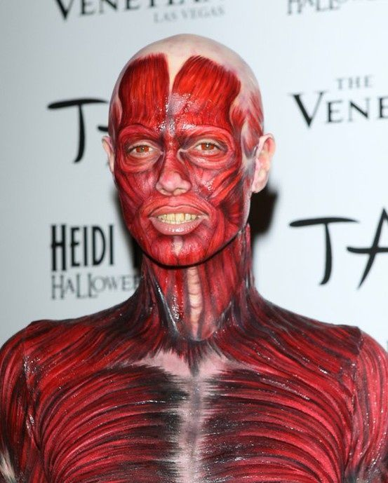 special effects makeup that looks like muscles | Heidi Klum Muscle body paint | Special Effects Makeup