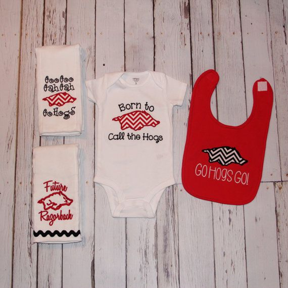 Arkansas Razorbacks Baby Gift Set - Hogs - Woo Pig Sooie - Girl or Boy - Red Chevron - Onesie Bib Burp Cloth - Baby Shower - Newborn