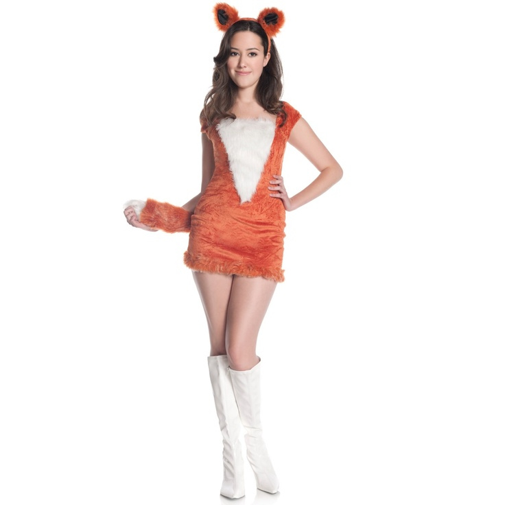 cute and sassy this halloween costume will make you look foxy red fox teen costume includes velvety red dress with furry white stomach attached tail