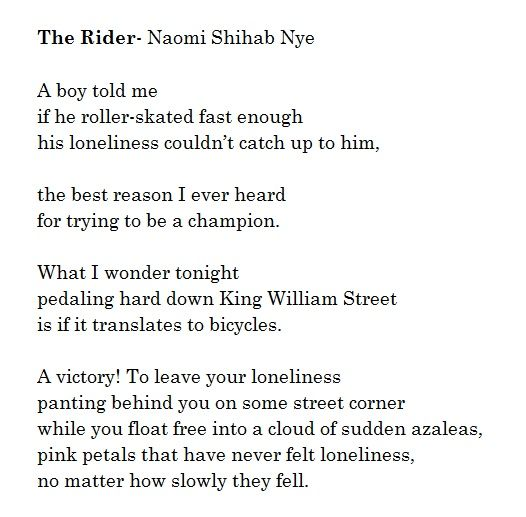 ¤ Poet Ponderings ¤ poetry, quotes & haiku - Naomi Shihab Nye | The Ryder