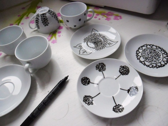 Hand painted cups and saucers! It's easy.