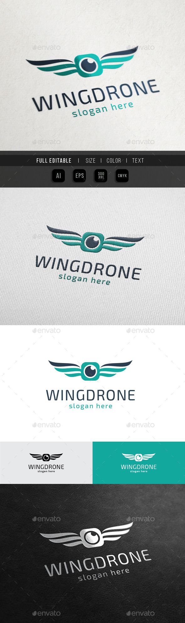 Wing Drone Sky Camera - Logo Design Template Vector #logotype Download it here: http://graphicriver.net/item/wing-drone-sky-camera/10523978?s_rank=365?ref=nesto