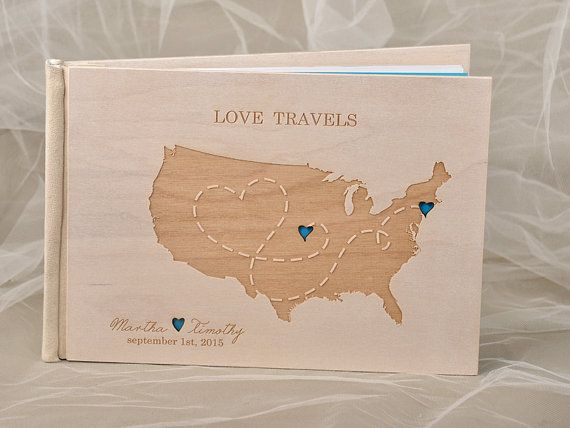 Love States Map Guestbook, Custom Wood Guestbook, Love Story Map Long Distance Relationships Wedding Guest Book