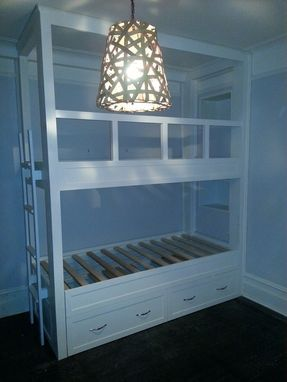 Custom Made Twin Over Twin Built-In Bunk Bed With Pop-Up Trundle