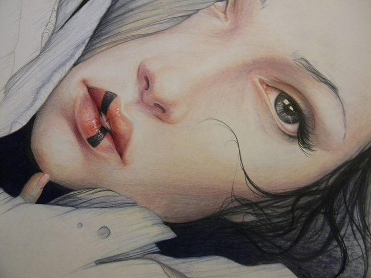 Jennifer Healy #art #drawing #illustration #prismacolor #coloured #pencil #woman #fantasy #lips