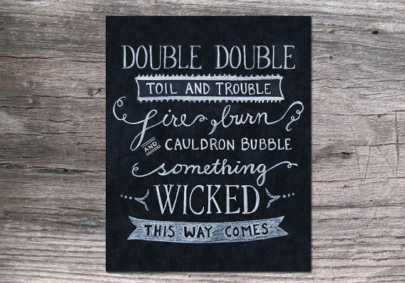 Double Double Toil and Trouble Halloween Chalk Art by JKayeStudio