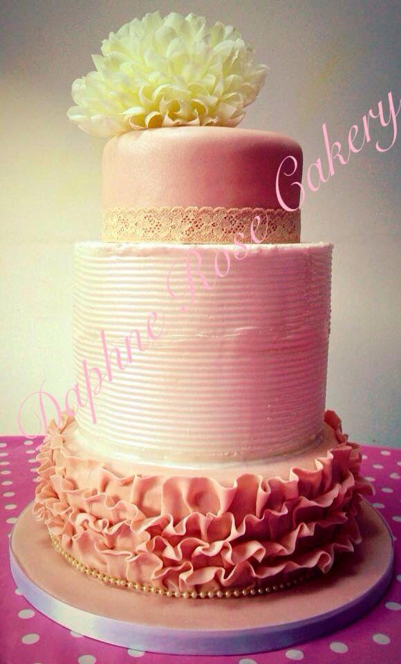 #peach #cream #ruffle #tiers #weddingcake email enquiry drcakery@gmail.com