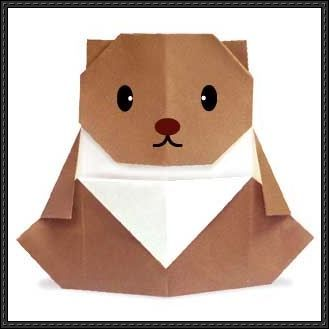 This papercraft is a cute origami Bear. Below is the tutorial: