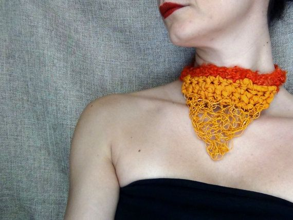 Boho necklace sari silk jewelry paper yarn by WearitCrochet